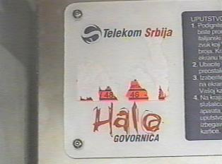 Sign identifying a Telekom Srbija pay phone