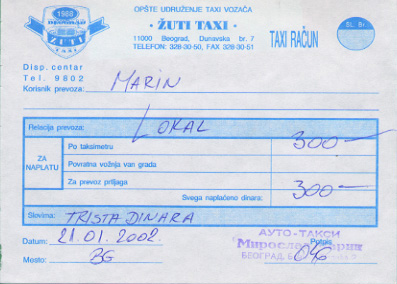 Receipt for a taxi ride