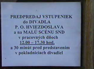 Ticket sale for P. O. Hviezdoslav theater and Small Stage of Slovak National Theater'