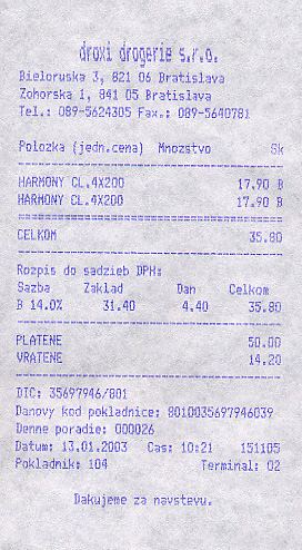 A drugstore receipt
