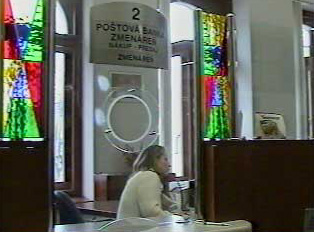 Money exchange window at the post office