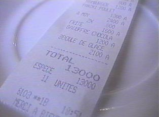 The bill at the restaurant