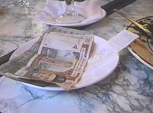 Tip and bill plate at the restaurant