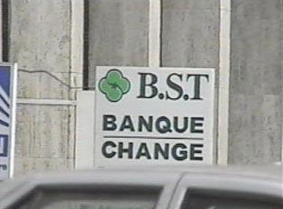 Money exchange and bank entrance