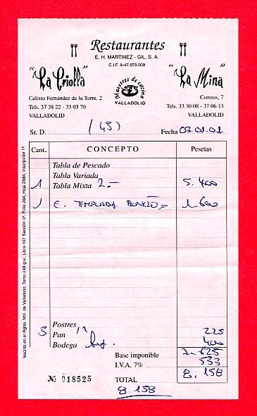 A restaurant receipt