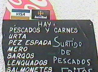 A fish menu