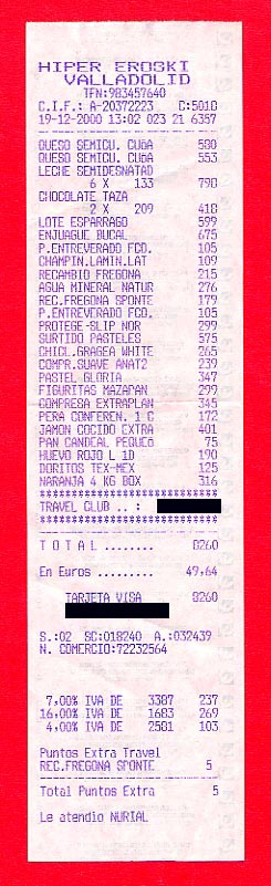 Food shopping receipt