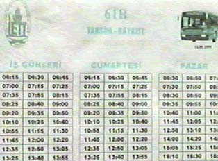 Close-up of posted bus schedule