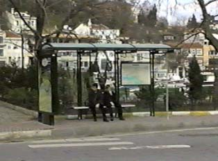 Typical covered city bus stop