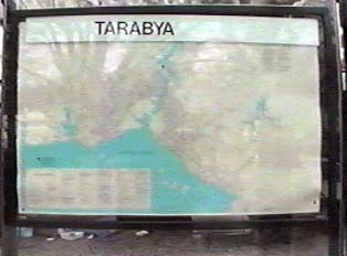 Close-up of map and name of bus stop