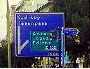 Road sign indicating the highway to Ankara