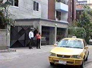 Two people hailing a taxicab