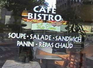 A sign for a restaurant called Cafe Bistro