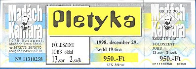 An entry ticket for an event