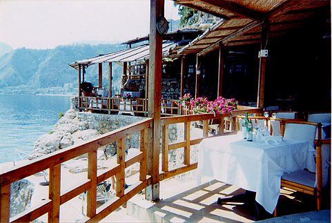 An oceanfront seafood restaurant