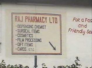 A pharmacy sign