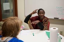 Dr. Agnes Kimokoti, Swahili mentor, leading a tutorial session