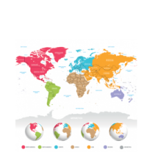 An image of a world map and globes with different continents highlighted